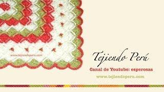 getlinkyoutube.com-Cobija o mantita para bebés tejida en bavarian crochet con rosas rococó bordadas