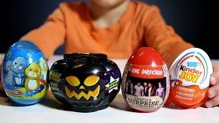 getlinkyoutube.com-Sammie is Opening 4 Surprise Eggs: 1D, Kinder Joy, ZhuZhu Pets, Moshi Monsters