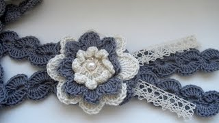 getlinkyoutube.com-Crochet Flower Statement Necklace. Part 1 Step by step  Вязаное колье.