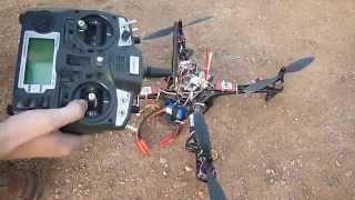 getlinkyoutube.com-Квадрокоптер. Первые полёты на новой раме RM450 с моторами на 850kV. Неудачная посадка.