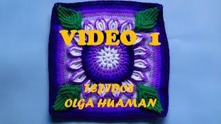 "getlinkyoutube.com-colcha tejido a crochet muestra ""flor de 16 pétalos"" video 1"