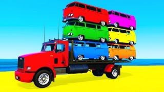 getlinkyoutube.com-COLOR BUS on TRUCK and Spiderman Cars Cartoon for Kids & Fun Colors for Children Nursery Rhymes