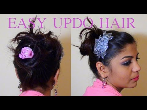 Messy Hair Bun Updo hairstyle for Indian long thick hair