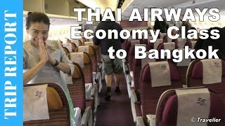 getlinkyoutube.com-Thai Airways Boeing 777 Economy Class flight review to Bangkok Suvarnabhumi Airport - HS-TKQ