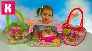 getlinkyoutube.com-Куклы Пинипон и животные с машинкой распаковка Piny Pon dolls with car and pets unboxing toys