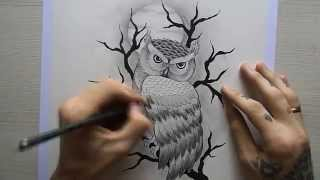 getlinkyoutube.com-Desenho Coruja tatuagem