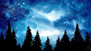 Simple Watercolor Galaxy Forest Painting Tutorial