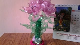 getlinkyoutube.com-Best Out of Waste Plastic Bottles transformed to Pretty Pink Flowers Showpiece
