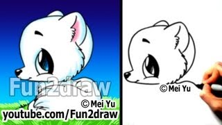 getlinkyoutube.com-Easy Things to Draw Cute Animals - Drawing Tutorial - Arctic Fox (Easy!)