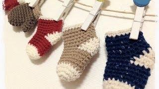 getlinkyoutube.com-ミニチュアくつ下の編み方How to crochet miniature socks  by meetang