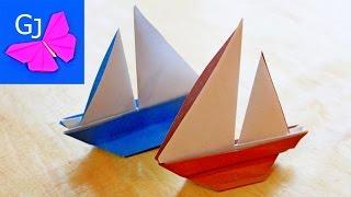 getlinkyoutube.com-Оригами парусник из бумаги