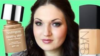 getlinkyoutube.com-FOUNDATION BATTLE! Nars Sheer Glow vs Neutrogena Healthy Skin