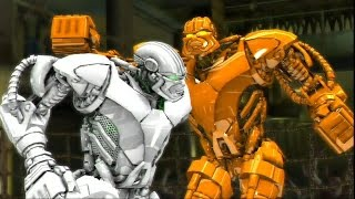 getlinkyoutube.com-REAL STEEL-GOLD ZEUS vs WHITE ZEUS(new colors of robots)(ЖИВАЯ СТАЛЬ)-XBOX 360/PS3