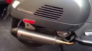 getlinkyoutube.com-Vespa gts 300 Akrapovic Exhaust  Atomic adjustable levers