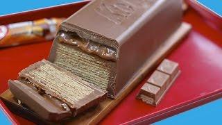 getlinkyoutube.com-GIANT Caramel KitKat CHUNKY Candy Bar! Huge Kit Kat Chocolate Bar Recipe   My Cupcake Addiction