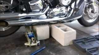 getlinkyoutube.com-Rear Shaft Driven Motorcycle Wheel Removal Vstar 1100 Part 1