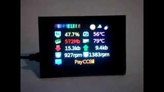 "getlinkyoutube.com-2.8"" External TFT LCD Displaying System information AIDA64 (everest)"