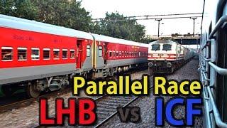 getlinkyoutube.com-Tom & Jerry Trains Race:12415 Indore-DEE LHB SF Parallely overtakes 12451 ShramShakti Exp