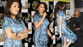 Madhuri Dixit Kicking in Sexy Body Fit dress at Gold's Gym