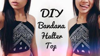 getlinkyoutube.com-DIY Bandana Halter Top ♡ (Easy + No Sew!)