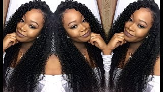 getlinkyoutube.com-Deep Side Part W/ Curly Hair Quick-Weave   Install & Blending   MS Here Hair Company