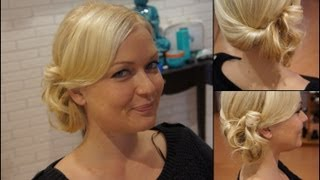 COMO HACER UN RECOGIDO LATERAL - Side swept rolled updo hairstyle for medium hair