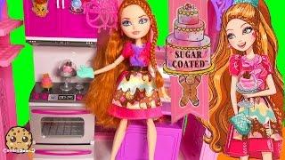 getlinkyoutube.com-Ever After High Sugar Coated Holly O'Hair Daughter of Rapunzel Doll + Cookieswirlc Fan Blind Bags