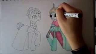 getlinkyoutube.com-Frozen Speed Art- Elsa and Anna (Ponies)