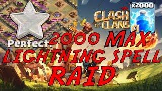getlinkyoutube.com-Clash of Clans: ALL LIGHTNING SPELL RAID/ATTACK EPIC 3 STAR ON MAX TH10! 2000 MAX LIGHTNING SPELLS!