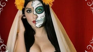 getlinkyoutube.com-Sugar Skull Makeup Tutorial / La Catrina Maquillaje Tutorial