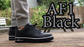"getlinkyoutube.com-Nike Air Force 1 Low | Black on Black ""Striped"" 