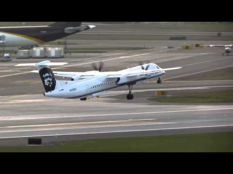 Alaska Airlines Bombardier Q400 Takes Off From PDX On Runway 28R 3)