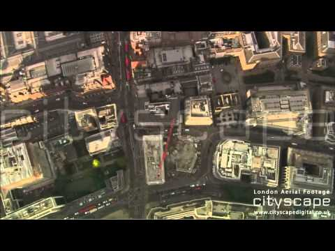 London Aerial Footage - Top down view of Bishopsgate, London (HD)