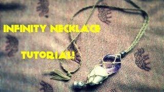 getlinkyoutube.com-how to Macramé tutorial - interchangeable / swap stone necklace (infinity necklace sack)