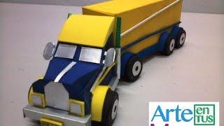 Tractomula hecha con cajas,  en Material Reciclado (Tracto Camión) Paso a Paso