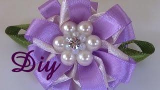 Flor de fita lilás e branco \ Flower lilac and white ribbon - DIY