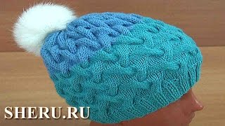 getlinkyoutube.com-Теплая шапка спицами Урок 161
