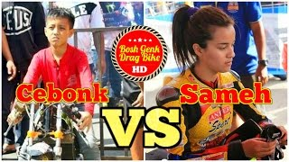 getlinkyoutube.com-Drag Bike DUEL ALFAN CEBONK VS SABRINA SAMEH | Matic 200cc TU HD