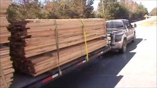 getlinkyoutube.com-Ford F350 Powerstroke towing rough cut lumber