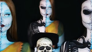 getlinkyoutube.com-Nightmare Before Christmas Jack and Sally Makeup Tutorial