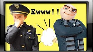 getlinkyoutube.com-The Bad Breath Bandit vs Kid Cops Ryan a funny silly kids toys jail video
