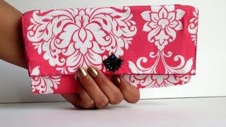 getlinkyoutube.com-DIY Fabric & Cardboard Purse | Card Holder | Clutch