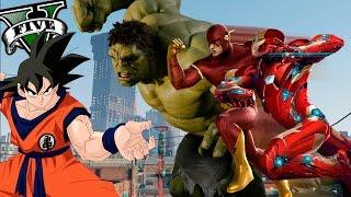 getlinkyoutube.com-GTA V PC MODS - GOKU VS SUPERHEROES !! OMG ! - ElChurches