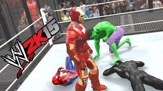 getlinkyoutube.com-WWE 2K15 - HULK VS BATMAN VS SPIDER MAN VS DEADPOOL VS CAPTAIN AMERICA VS IRON MAN
