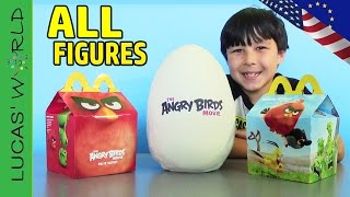 getlinkyoutube.com-ALL American & European McDonalds Happy Meal ANGRY BIRDS MOVIE Toys! GIANT PLAY DOH Surprise Eggs!