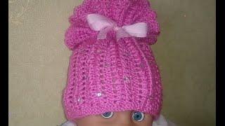 getlinkyoutube.com-Вязаная детская шапочка!Baby Beanie!knitting.Вязание для начинающих.