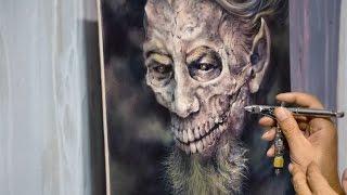getlinkyoutube.com-Airbrush old skull (canvas)