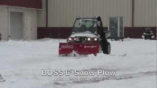 getlinkyoutube.com-BOSS 6' Snow Plow on a John Deere 855D Gator Utility Vehicle