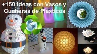 getlinkyoutube.com-Ideas Vasos y Cucharas de plástico / Recycled glasses and plastic spoons +150 Ideas