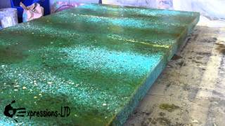 getlinkyoutube.com-Acid Stain Concrete Countertop - Turquoise and Rust